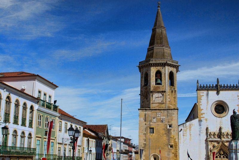 Clock at the bell tower of the Church of São João Baptista in the City of Tomar in Portugal