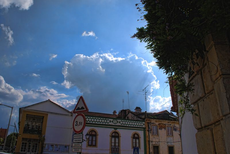 Sky and clouds at Rua Marquês de Pombal in the City of Tomar in Portugal