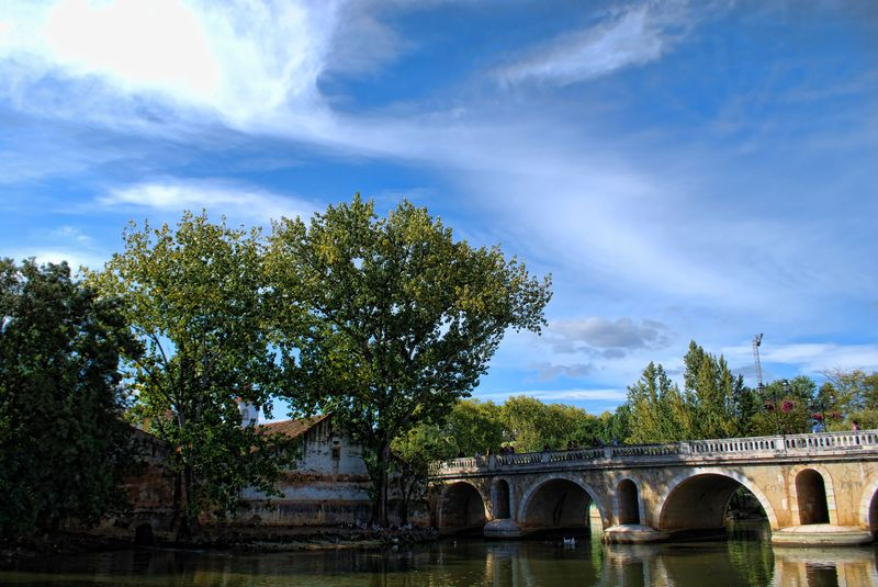 Sky of the City of Tomar in Portugal, from the Old Bridge