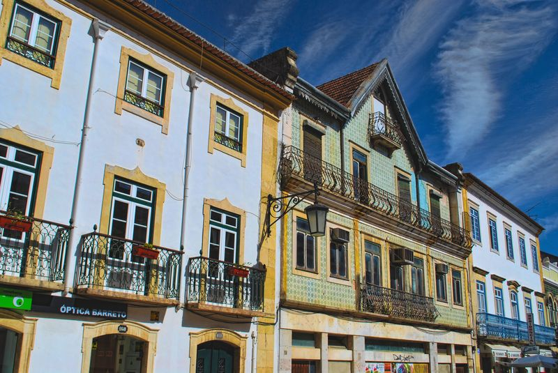 Spectacular sky and old houses in Tomar