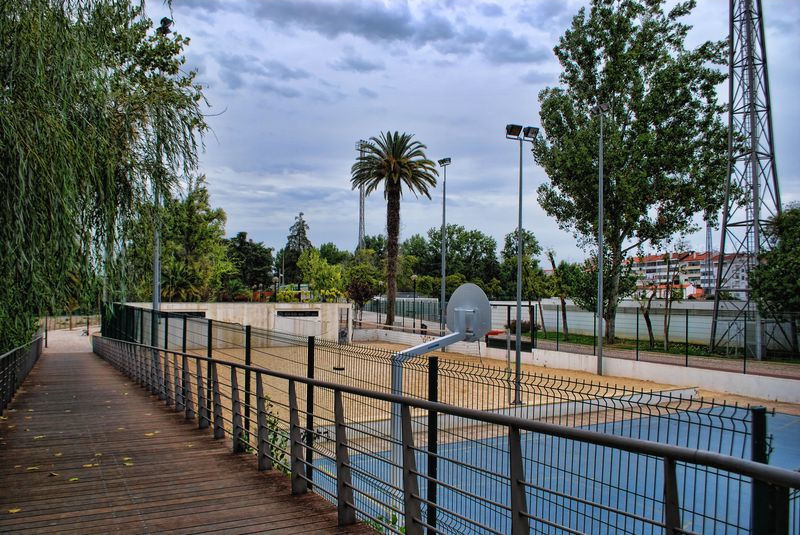 Basketball at Mouchão Park in the City of Tomar in Portugal