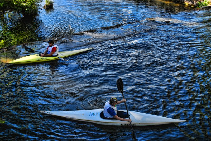 Canoeing, a water based sport in the City of Tomar in Portugal