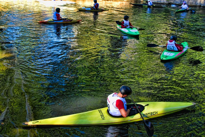 Canoeists relaxing at Nabão River in the City of Tomar