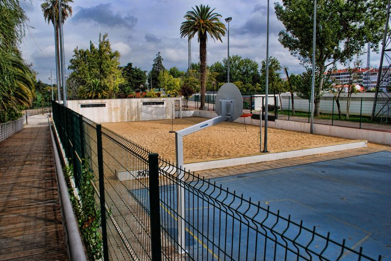 Volleyball beach court at Mouchão Park in the City of Tomar