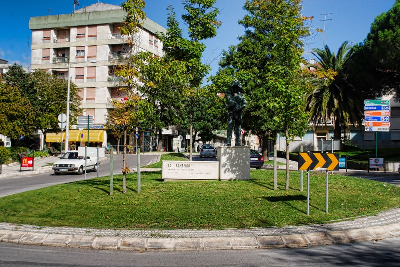 Firefighter statue at Avenida Norton de Matos in the City of Tomar