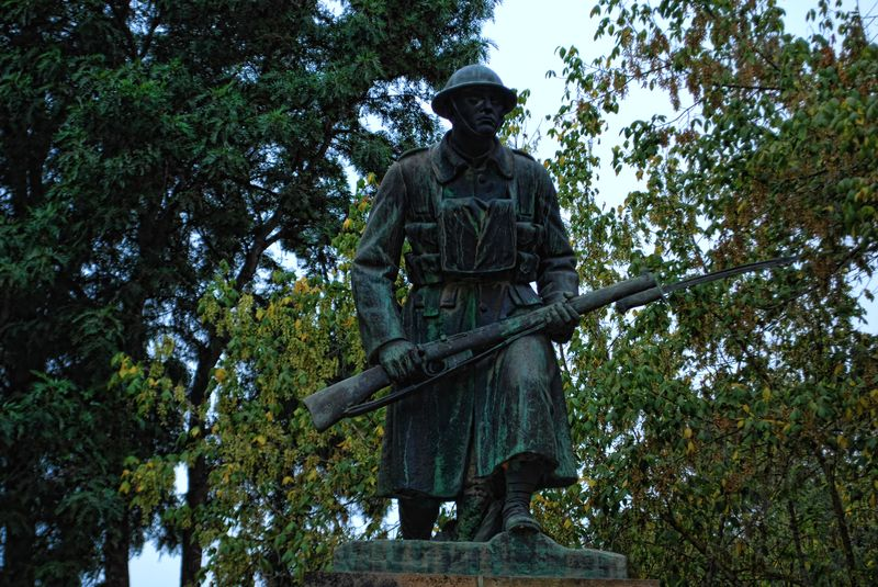 Statue of the Unknown Soldier at Vazea Grande in the City of Tomar in Portugal