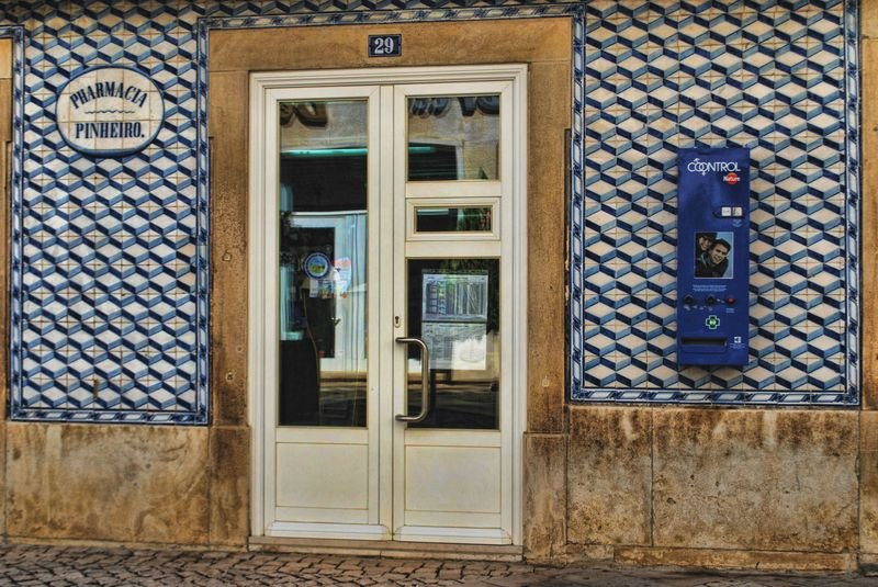 Artistic tiles at Pinheiro Pharmacy in the City of Tomar
