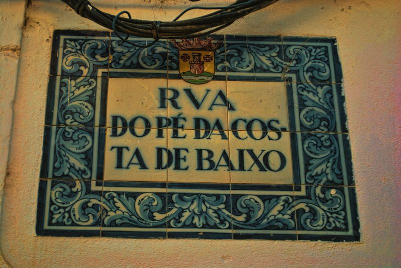 Ceramic tiles street sign in Tomar, Portugal