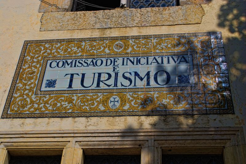Ceramic tile sign at the Tourist Centre in the City of Tomar