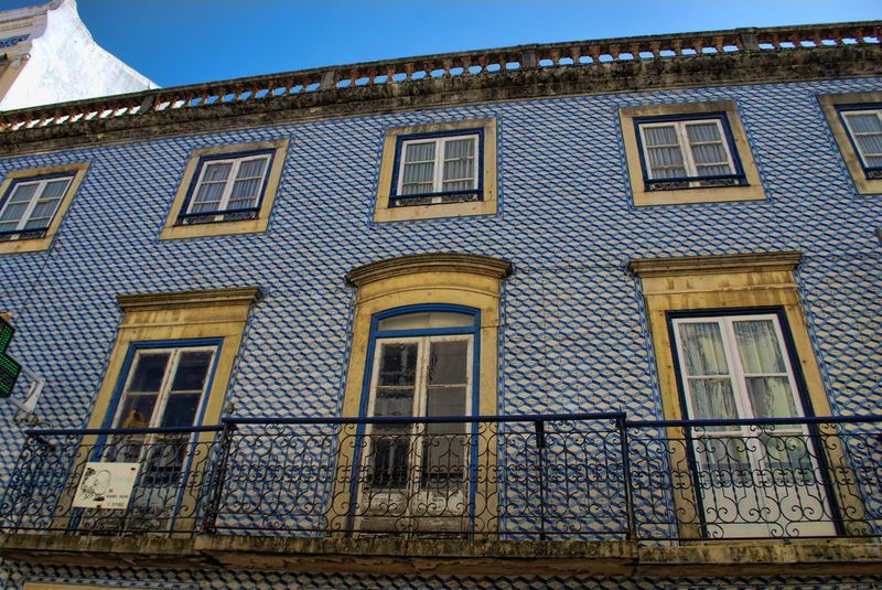 Wall covered with ceramic tiles at Corredoura in Tomar, Portugal