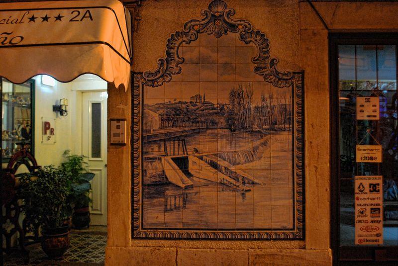 Tile mural of Nabão River in the City of Tomar in Portugal