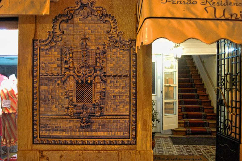 Tile mural of the Window of the Chapter House in the City of Tomar in Portugal