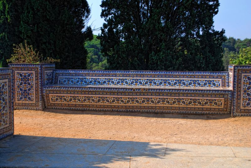 Tiles on a bench outside the Convent of Christ in the City of Tomar in Portugal