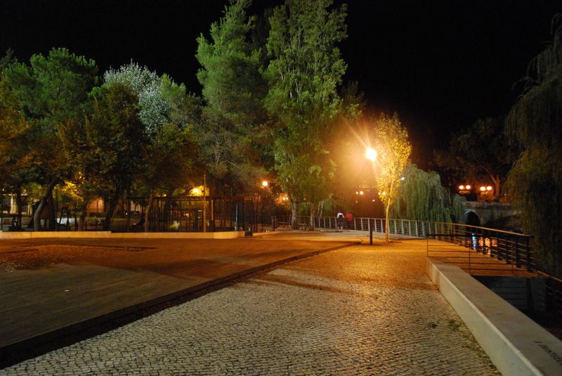 Mouchão Park at night in Tomar, Portugal