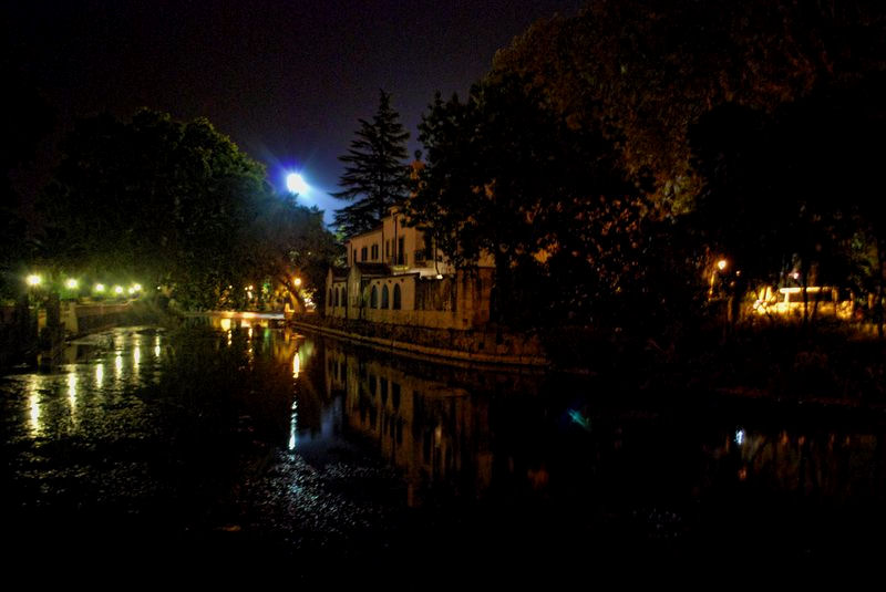 Nabão River at night from Várzea Pequena in the City of Tomar in Portugal