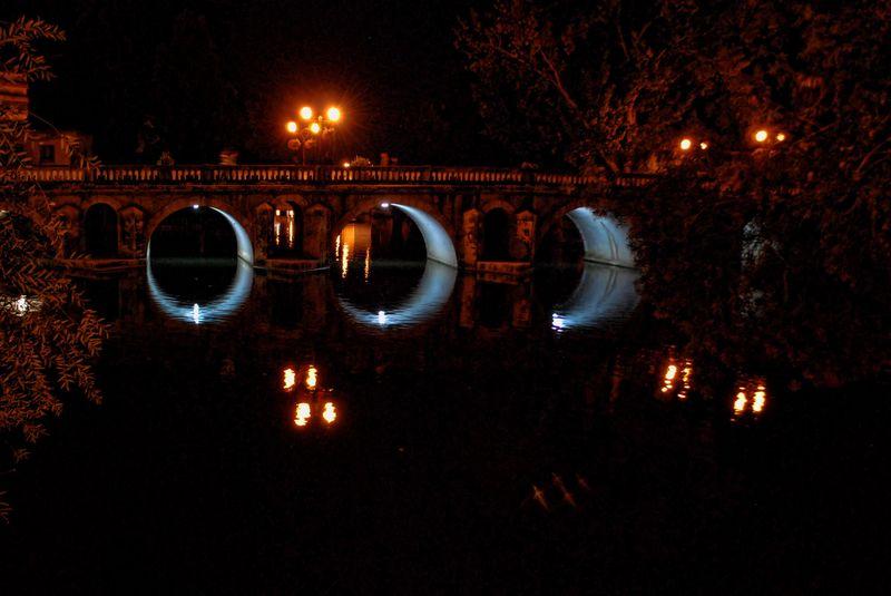 Old bridge over Nabão River in the City of Tomar in Portugal