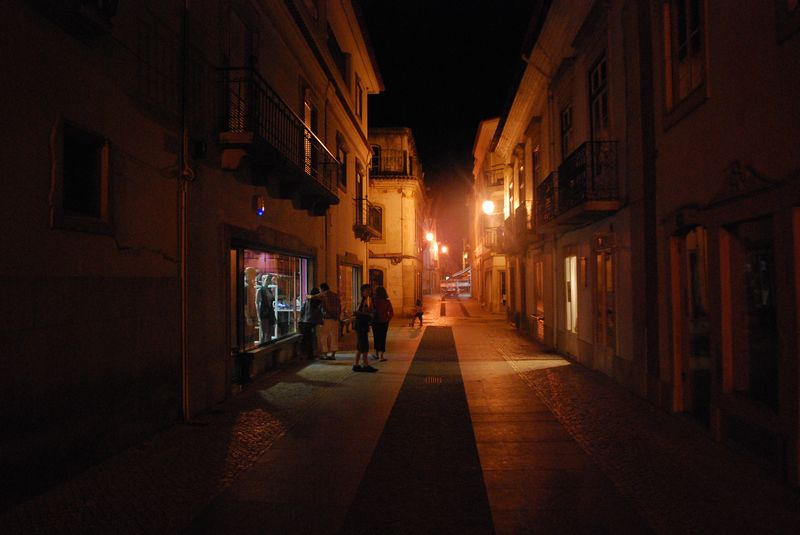 Rua Silva Magalhães in the City of Tomar at Night