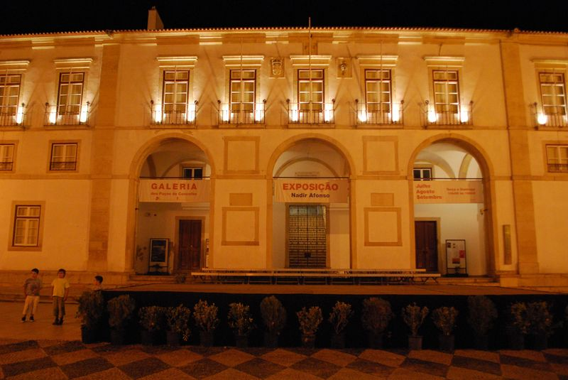 Town Council building at night in the City of Tomar in Portugal