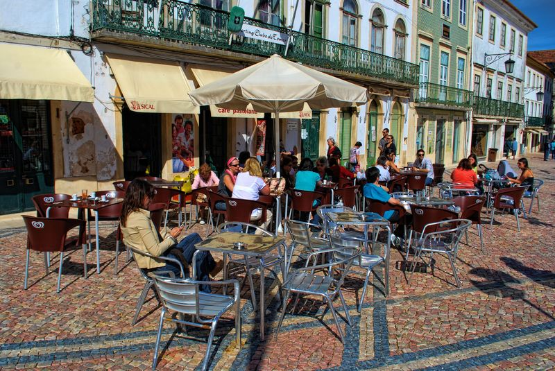 Cafe at Praça da República in the City of Tomar
