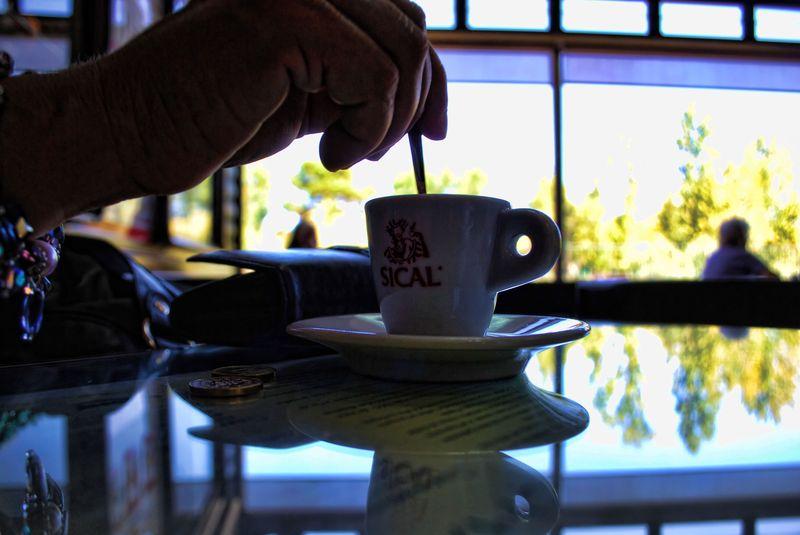 Espresso coffee at Pastry Shop Estrelas de Tomar in Portugal