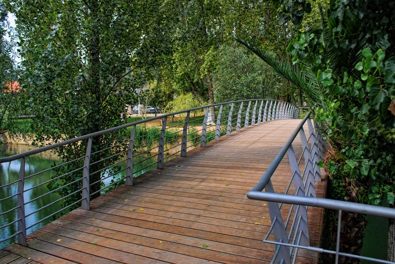 Green zone around Mouchão Bridge in Tomar, Portugal