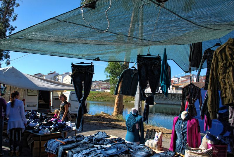 Clothes market of the City of Tomar near Nabão River in Portugal