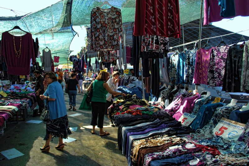 Clothes stands at the market of the City of Tomar in Portugal