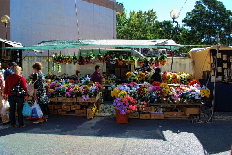 Flower stall at a traditional market in the City of Tomar