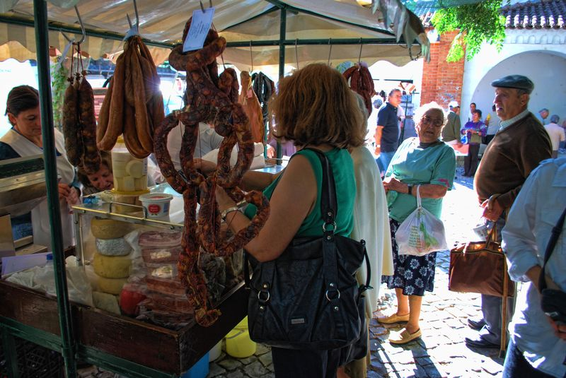 Chouriço sausage in the market of the City of Tomar in Portugal
