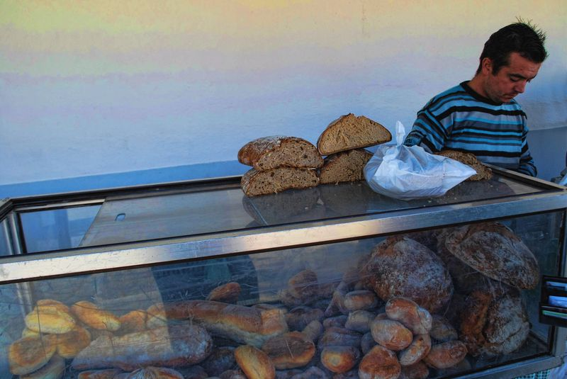 Portuguese bread in the market of the City of Tomar in Portugal
