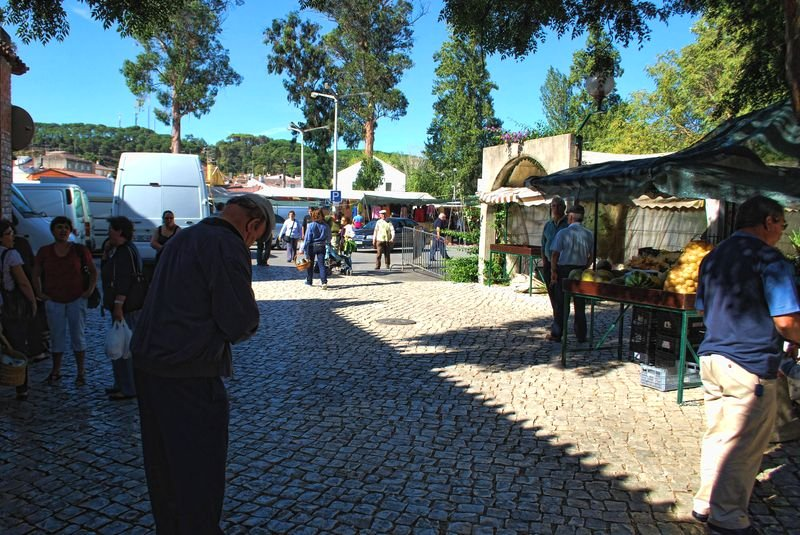 People at the traditional market of the City of Tomar in Portugal
