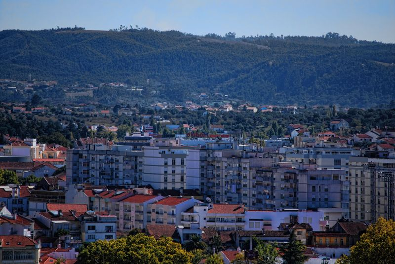 Panoramic view of the hills and Alameda Primeiro de Março in the City of Tomar in Portugal