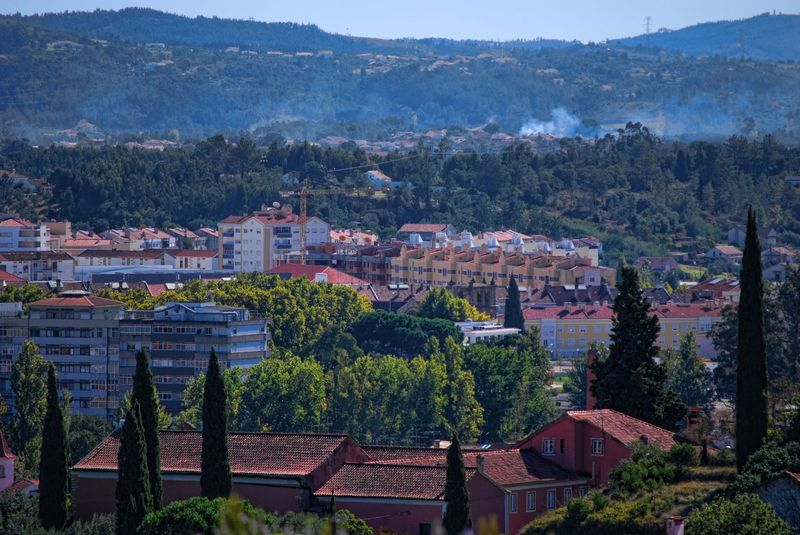 Panoramic view from Estrada de Leiria in the City of Tomar in Portugal