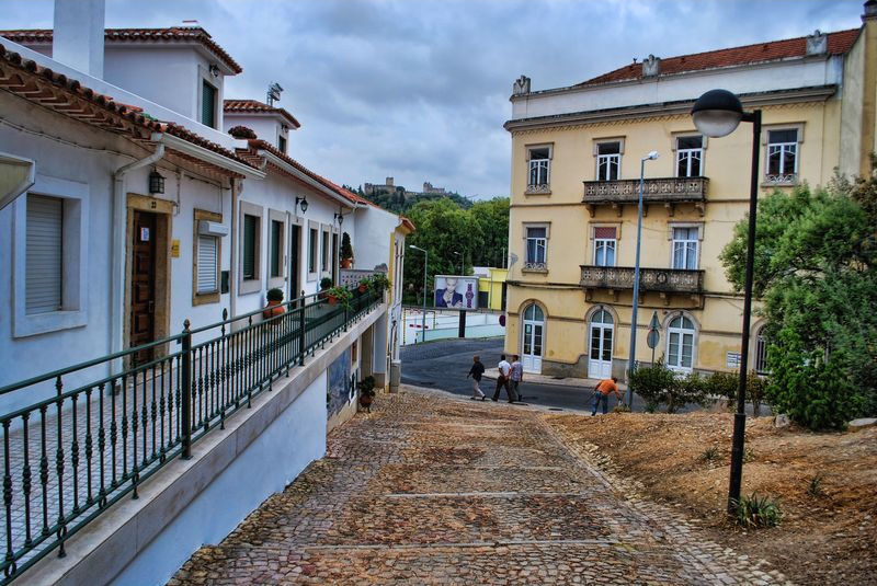 Cobblestone stairs at Rua da Cascalheira in the City of Tomar in Portugal