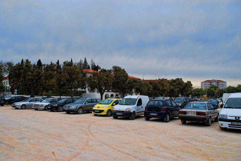 Cars parked at Varzea Grande in the City of Tomar