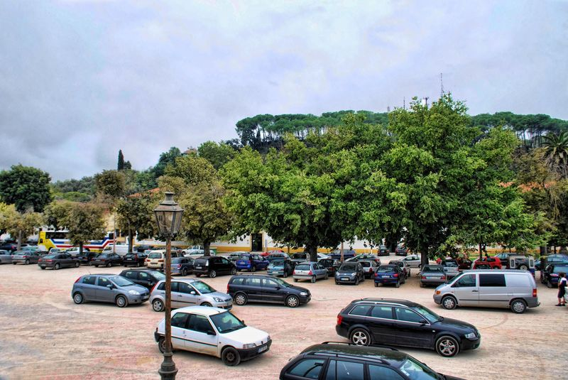 Parking area at Varzea Grande in the City of Tomar in Portugal