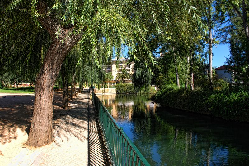 Garden of Varzea Pequena and Nabão River in the City of Tomar