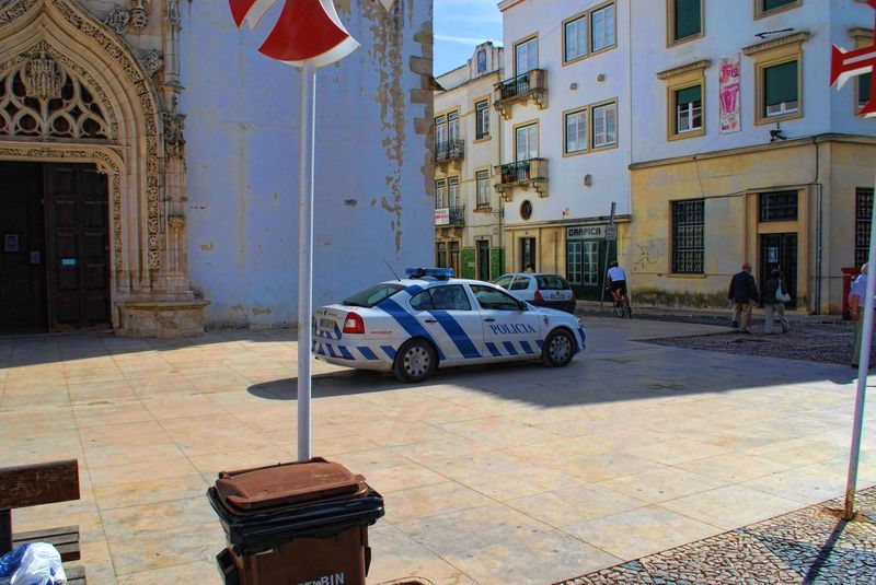 Police car at Praça da República in the City of Tomar in Portugal