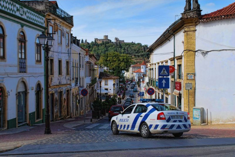 Police car at Rua Marquês de Pombal in the City of Tomar in Portugal
