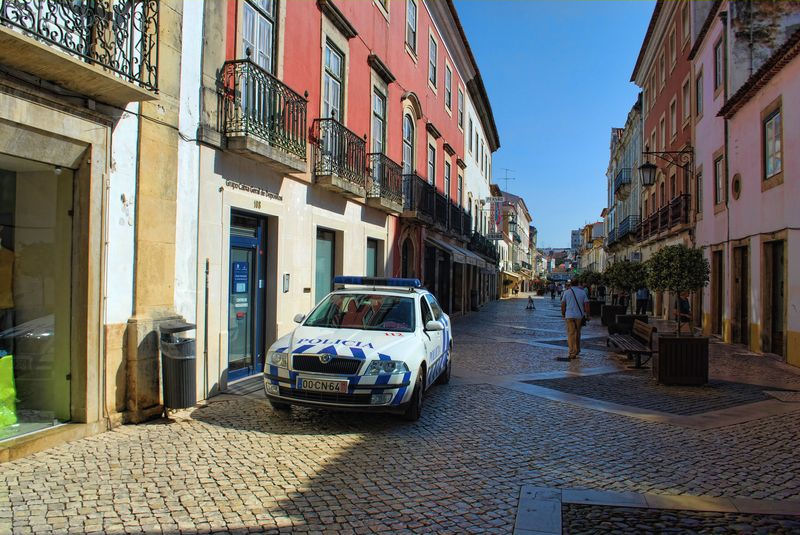 Police car at Corredoura in the City of Tomar in Portugal