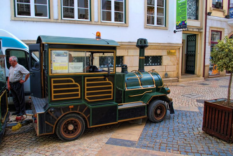 Tourist train machine at Corredoura in the City of Tomar in Portugal