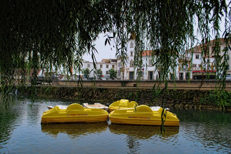 Yellow paddle boats at Mouchão Park in the City of Tomar