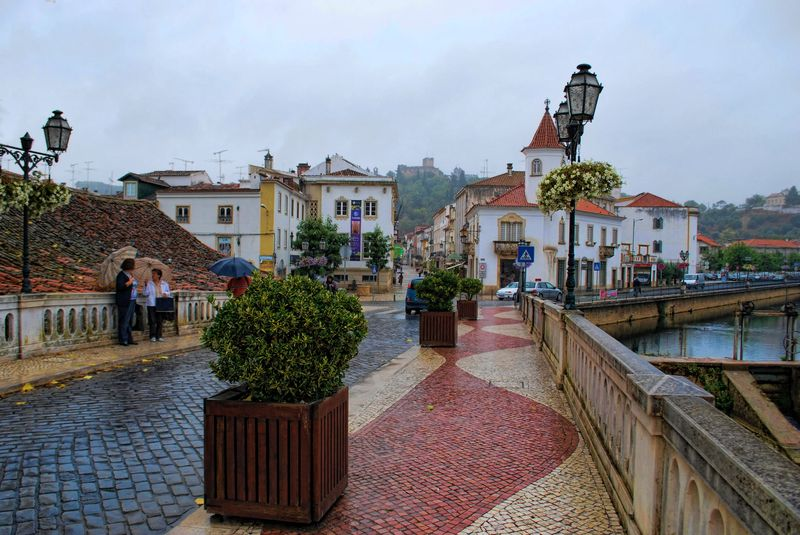 Bridge King Manuel I, in a wet day in the City of Tomar