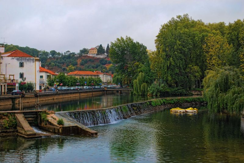 Rain in the City of Tomar in Portugal and waterfalls