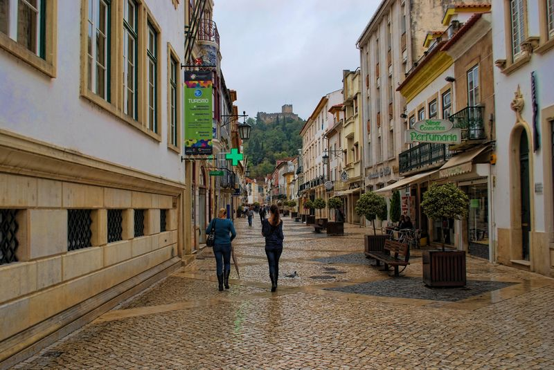 People at Corredoura in a rainy day in the City of Tomar