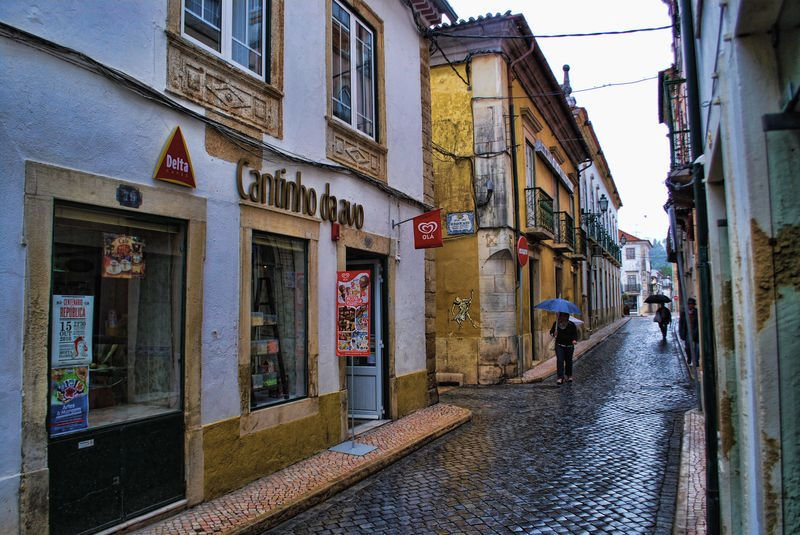 Rainy day at Rua Infantaria Quinze in the City of Tomar in Portugal
