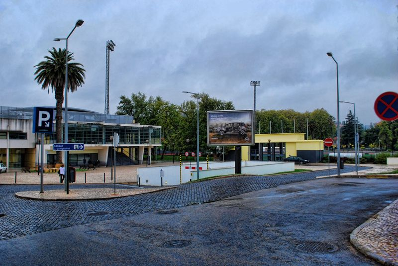 Rainy day near a sports pavilion in the City of Tomar