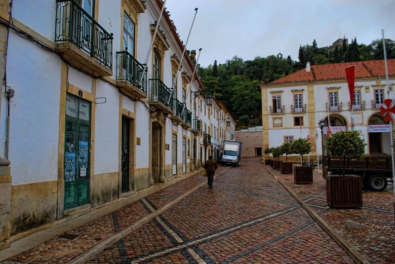 Wet cobblestones at Praça da República in the City of Tomar in Portugal